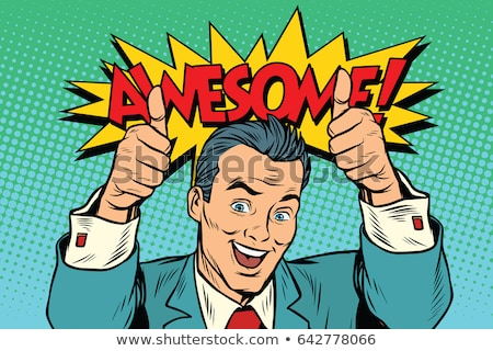 Good looking cheerful man showing double thumbs up Stock photo © stockyimages