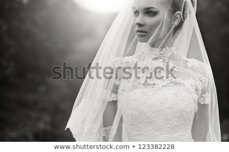 Beauty - fashionable bride face close up portrait stock photo © gromovataya