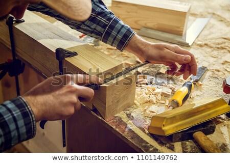 Man voorzichtig hamer beitel werk achtergrond Stockfoto © photography33