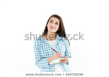 Young woman with notepad on white background Stock photo © photography33