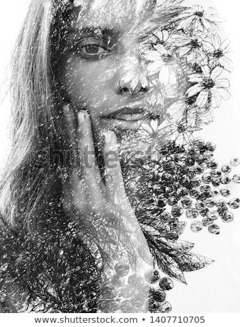 красивой молодые женщины оригинальный составляют цветок Сток-фото © Elmiko
