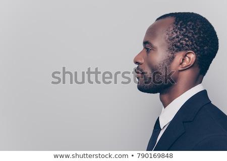 retrato · jovem · africano · homem · de · negócios · cinza - foto stock © get4net