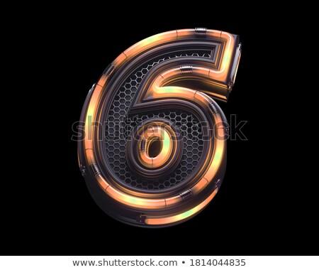 Número seis dígito neón luz naturales Foto stock © deyangeorgiev
