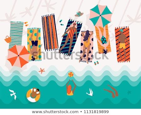 Nő bikini napernyő szépség nyár sétál Stock fotó © photography33