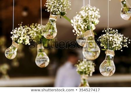 esküvői · torta · díszített · vörös · rózsák · virágok · étel · buli - stock fotó © tannjuska