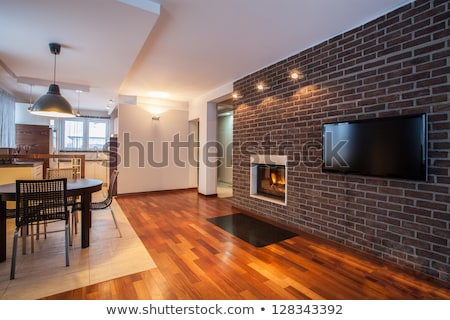 Stone fireplace with tv and dining room and kitchen. Stock photo © iriana88w