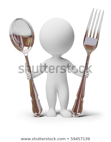 Stock photo: 3d small people   fork and spoon
