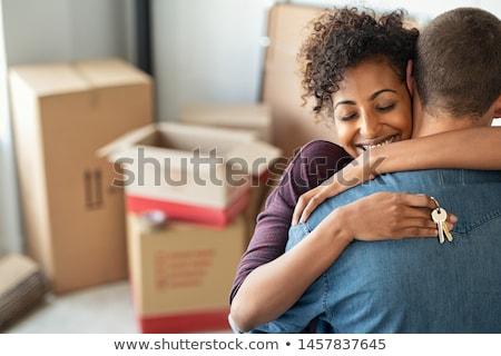 boldog · pár · hordoz · szőnyeg · együtt · költözés - stock fotó © photography33
