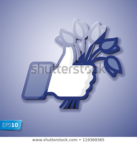 Like/Thumb Up simbol icon with bunch of flowers Stock photo © ikopylov