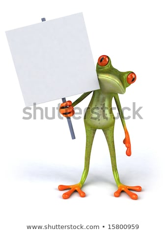 Foto stock: Green Frog With A Blank Sign