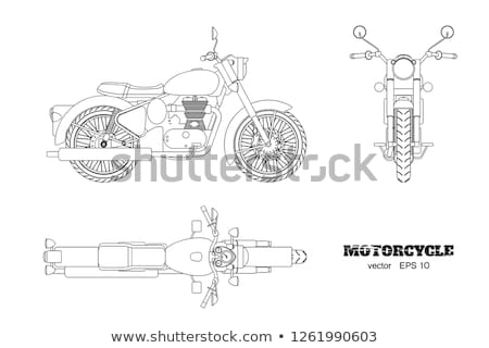 moto · illustration · vintage · crâne · route - photo stock © cteconsulting
