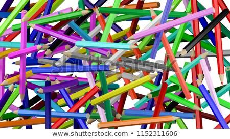 Kolorowy ołówki chaos dziecko pióro ramki Zdjęcia stock © make