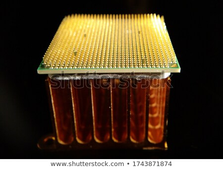 Closeup of an golden cpu cooler isolated on white Stock photo © shutswis