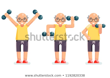 Man play with heavy dumbbell Stock photo © doupix