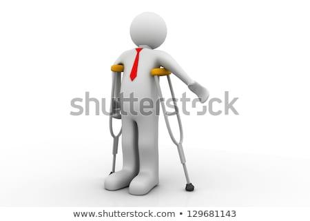 O homem 3d caminhada muletas isolado branco medicina Foto stock © Kirill_M
