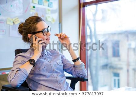 Genç işkadını konuşma cep telefonu portre kız Stok fotoğraf © dukibu