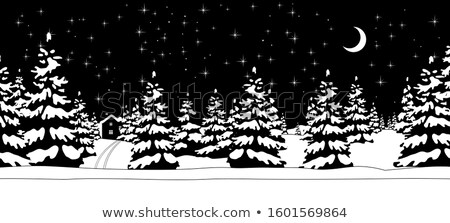 Stock photo: fir trees with snow under sky - vintage retro style