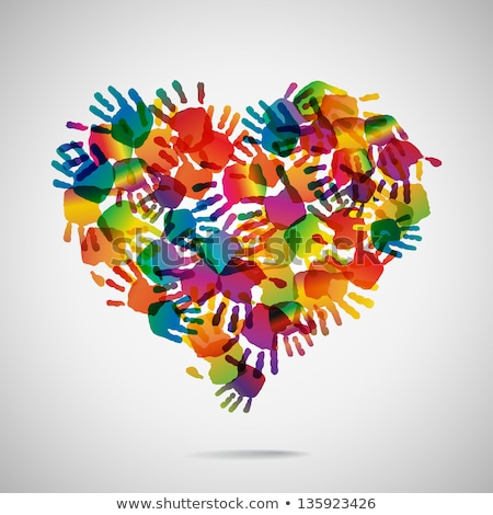 colorful hands with heart vector stock photo © beaubelle