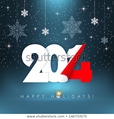 Stock photo: Happy New Year 2014 and snowflakes in blue