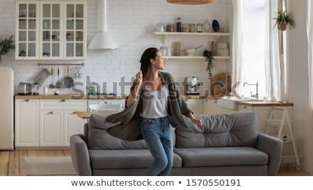 csinos · fiatal · nő · otthon · portré · ház · boldog - stock fotó © nenetus