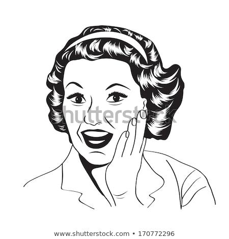 Boldog nő kereskedelmi retro clipart illusztráció Stock fotó © balasoiu