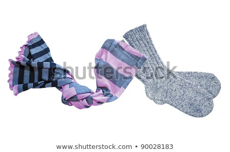 Grey wool socks and color neckerchief isolated on white Stock photo © tetkoren