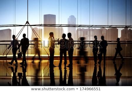 Iş adamları yürüyüş evrak çantası siluet eps 10 Stok fotoğraf © Istanbul2009