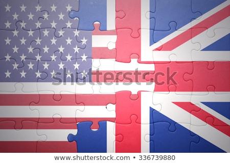 Zdjęcia stock: USA · Zjednoczone · Królestwo · flagi · puzzle · odizolowany · biały