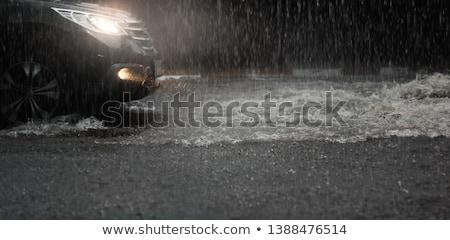 Regenachtig nat straat baksteen trottoir Stockfoto © zhekos