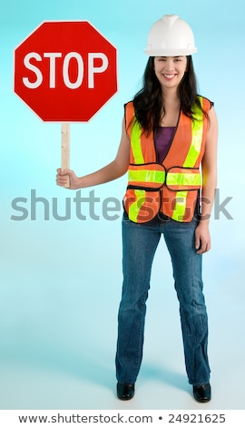 lady worker with road sign stock photo © petrmalyshev