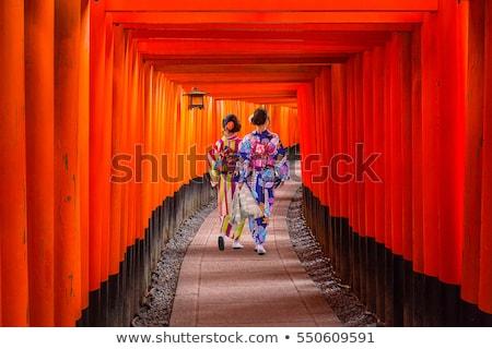 Japán Kiotó Japán bent alagút Stock fotó © jeayesy