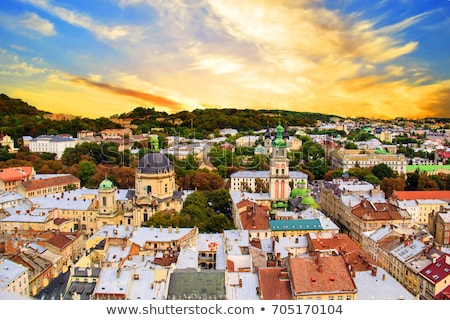 top view of the cathedral in lviv ukraine stock photo © pavlyuk
