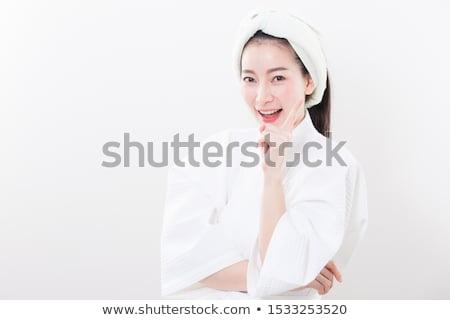 Sorridere indossare bagno asciugamano tre quarti Foto d'archivio © dash