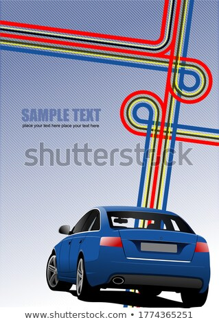 Blue Cover for brochure with junction and blue car image. Vector Stock photo © leonido
