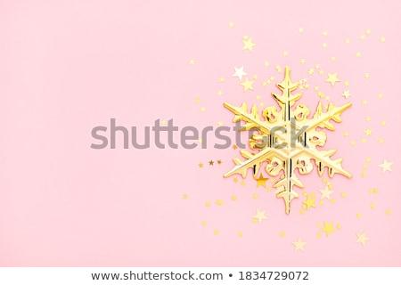 pezsgő · hópehely · karácsony · dekoráció · piros · kristály - stock fotó © italianestro