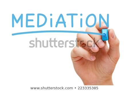 Médiation bleu marqueur main écrit transparent Photo stock © ivelin