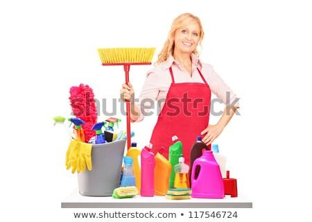 Donna guardando pulizia fluido bianco profilo Foto d'archivio © Amosnet