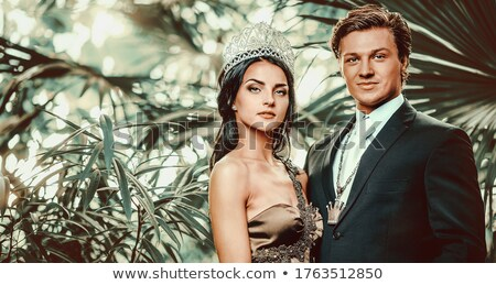 Gyönyörű nő hosszú estélyi ruha tiara fej divat Stock fotó © amok