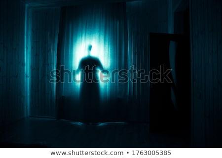 mysterieus · man · silhouet · geïsoleerd · witte · gezicht - stockfoto © belyaevskiy