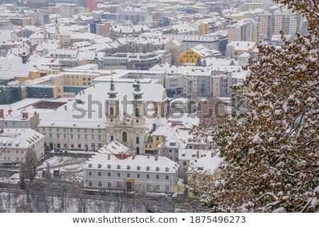 kilise · Avusturya · gökyüzü · ağaçlar · mavi · seyahat - stok fotoğraf © lianem