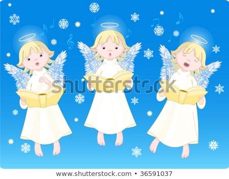 Koor engelen hemel sneeuw vleugels cartoon Stockfoto © adrenalina