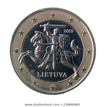 Uno euro moneta isolato bianco business Foto d'archivio © Grazvydas