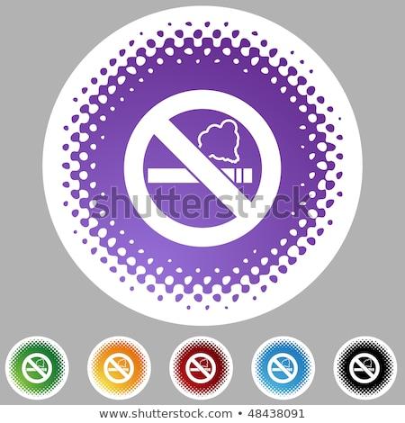 Dohányozni tilos felirat lila vektor ikon terv Stock fotó © rizwanali3d