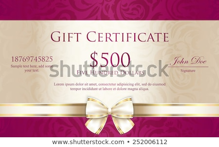 Luxury gift certificate with floral pattern and cream ribbon stock photo © liliwhite