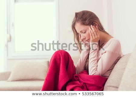 Foto stock: Mulher · dor · de · cabeça · doente · gripe · mulheres · casa