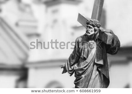 Szobor Jézus Krisztus temető Vilnius Litvánia Stock fotó © Taigi
