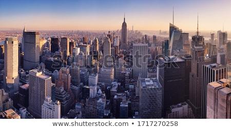 Stockfoto: Zon · groene · punt · buurt · skyline · rivier
