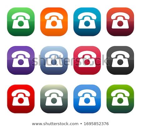 Foto stock: Telecom Communication Square Vector Blue Icon Design Set