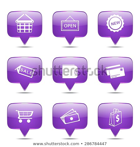 shopping sign square vector violet icon design set 2 stock photo © rizwanali3d