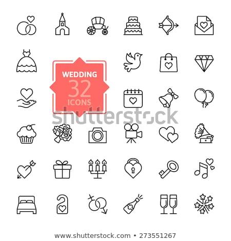 Diamond ring thin line icon Stock photo © RAStudio